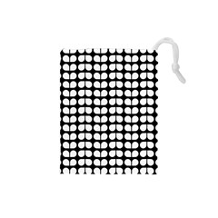 Black And White Leaf Pattern Drawstring Pouch (small)