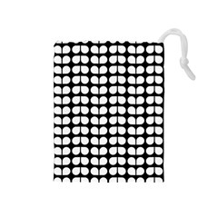 Black And White Leaf Pattern Drawstring Pouch (Medium)