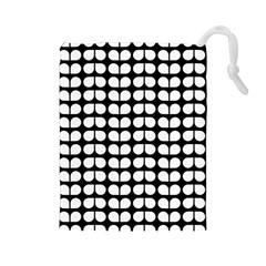 Black And White Leaf Pattern Drawstring Pouch (Large)