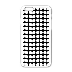 Black And White Leaf Pattern Apple Iphone 6 White Enamel Case