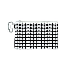Black And White Leaf Pattern Canvas Cosmetic Bag (small)