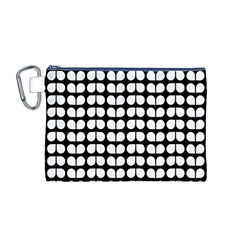 Black And White Leaf Pattern Canvas Cosmetic Bag (Medium)