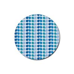 Blue Green Leaf Pattern Drink Coaster (round)