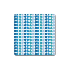 Blue Green Leaf Pattern Magnet (square)