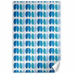 Blue Green Leaf Pattern Canvas 24  X 36  (unframed)