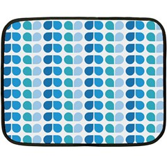 Blue Green Leaf Pattern Mini Fleece Blanket (two Sided)