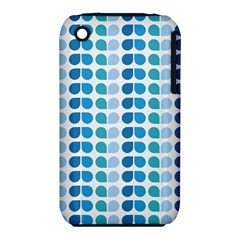 Blue Green Leaf Pattern Apple iPhone 3G/3GS Hardshell Case (PC+Silicone)