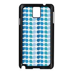 Blue Green Leaf Pattern Samsung Galaxy Note 3 N9005 Case (black)