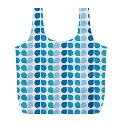 Blue Green Leaf Pattern Reusable Bag (L)
