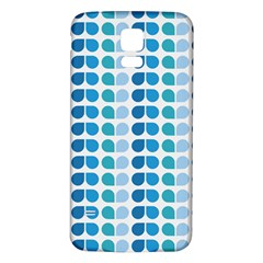 Blue Green Leaf Pattern Samsung Galaxy S5 Back Case (White)
