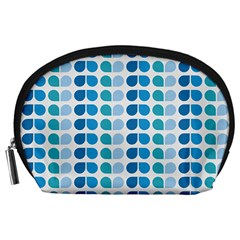 Blue Green Leaf Pattern Accessory Pouch (Large)