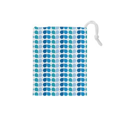Blue Green Leaf Pattern Drawstring Pouch (Small)