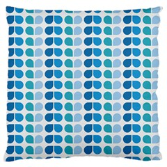Blue Green Leaf Pattern Large Flano Cushion Case (Two Sides)