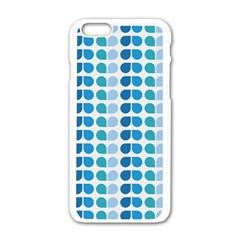 Blue Green Leaf Pattern Apple iPhone 6 White Enamel Case