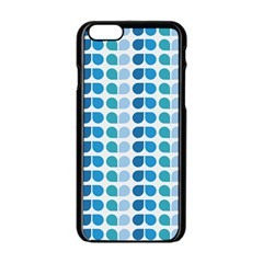 Blue Green Leaf Pattern Apple iPhone 6 Black Enamel Case