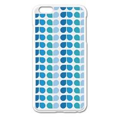 Blue Green Leaf Pattern Apple Iphone 6 Plus Enamel White Case