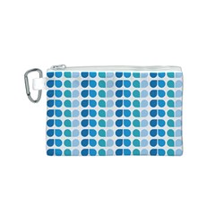 Blue Green Leaf Pattern Canvas Cosmetic Bag (small)