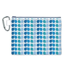 Blue Green Leaf Pattern Canvas Cosmetic Bag (Large)