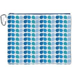 Blue Green Leaf Pattern Canvas Cosmetic Bag (XXXL)