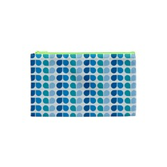 Blue Green Leaf Pattern Cosmetic Bag (XS)
