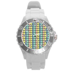 Colorful Leaf Pattern Plastic Sport Watch (large)