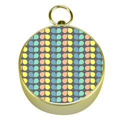 Colorful Leaf Pattern Gold Compass
