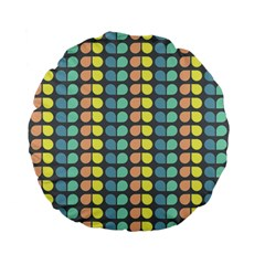 Colorful Leaf Pattern 15  Premium Flano Round Cushion
