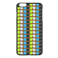 Colorful Leaf Pattern Apple iPhone 6 Plus Black Enamel Case