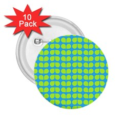 Blue Lime Leaf Pattern 2 25  Button (10 Pack)