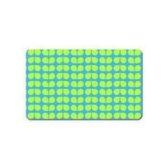 Blue Lime Leaf Pattern Magnet (name Card)