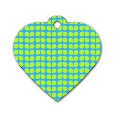 Blue Lime Leaf Pattern Dog Tag Heart (two Sided)