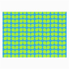 Blue Lime Leaf Pattern Glasses Cloth (large, Two Sided)