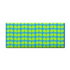 Blue Lime Leaf Pattern Hand Towel