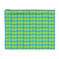 Blue Lime Leaf Pattern Cosmetic Bag (xl)