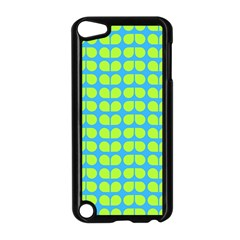 Blue Lime Leaf Pattern Apple Ipod Touch 5 Case (black)