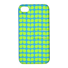 Blue Lime Leaf Pattern Apple Iphone 4/4s Hardshell Case With Stand