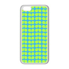 Blue Lime Leaf Pattern Apple iPhone 5C Seamless Case (White)