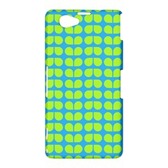 Blue Lime Leaf Pattern Sony Xperia Z1 Compact Hardshell Case