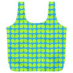 Blue Lime Leaf Pattern Reusable Bag (XL)