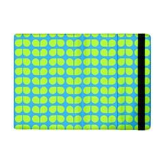 Blue Lime Leaf Pattern Apple iPad Mini 2 Flip Case