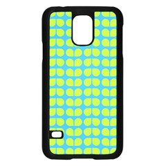 Blue Lime Leaf Pattern Samsung Galaxy S5 Case (Black)