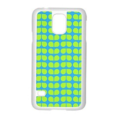 Blue Lime Leaf Pattern Samsung Galaxy S5 Case (White)