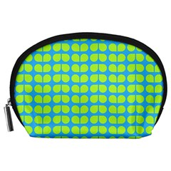 Blue Lime Leaf Pattern Accessory Pouch (large)