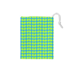 Blue Lime Leaf Pattern Drawstring Pouch (Small)