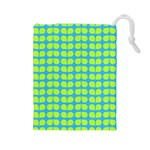 Blue Lime Leaf Pattern Drawstring Pouch (Large) Front