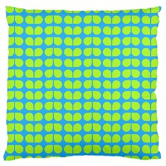 Blue Lime Leaf Pattern Large Flano Cushion Case (Two Sides)