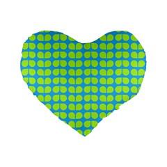 Blue Lime Leaf Pattern 16  Premium Flano Heart Shape Cushion