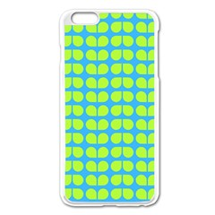 Blue Lime Leaf Pattern Apple iPhone 6 Plus Enamel White Case
