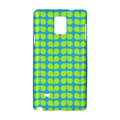 Blue Lime Leaf Pattern Samsung Galaxy Note 4 Hardshell Case