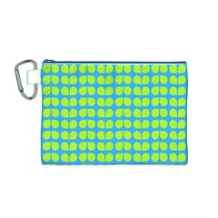 Blue Lime Leaf Pattern Canvas Cosmetic Bag (Medium)